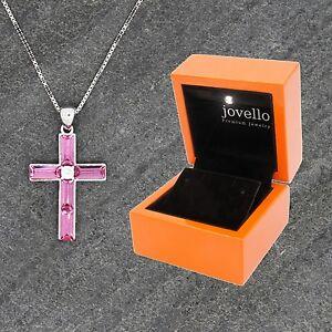 925-Silber-Kreuz-Cross-Kristall-pink-Anhaenger-mit-Kette-Halskette-LED-Holzbox