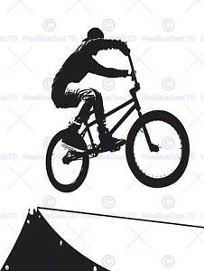 PAINTING SPORT BMX BIKE BICYCLE JUMP AIR RAMP BLACK WHITE POSTER PRINT BMP11222