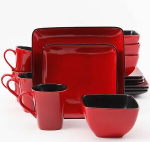 Image is loading Dinnerware-Set-16-Piece-Square-Plates-Dishes-Cups- & Dinnerware Set 16 Piece Square Plates Dishes Cups Bowls Dinner ...