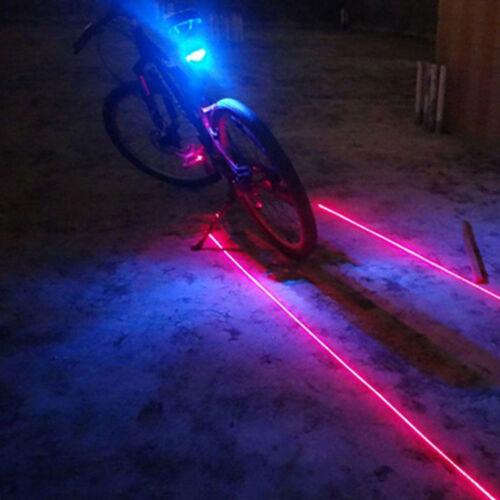 2 Laser 5 LED Rear Cycling Bicycle Bike Tail Safety Warning Flashing Lamp Light