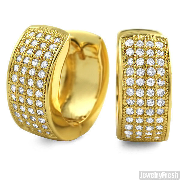 41270b6378bb6 Yellow Gold Finish 4 Row Iced out CZ Wide Hoop Earrings Huggies