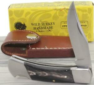 7-034-Wild-Turkey-Black-Rams-Horn-Lockback-Folding-Pocket-Knife-Leather-Sheath-Case