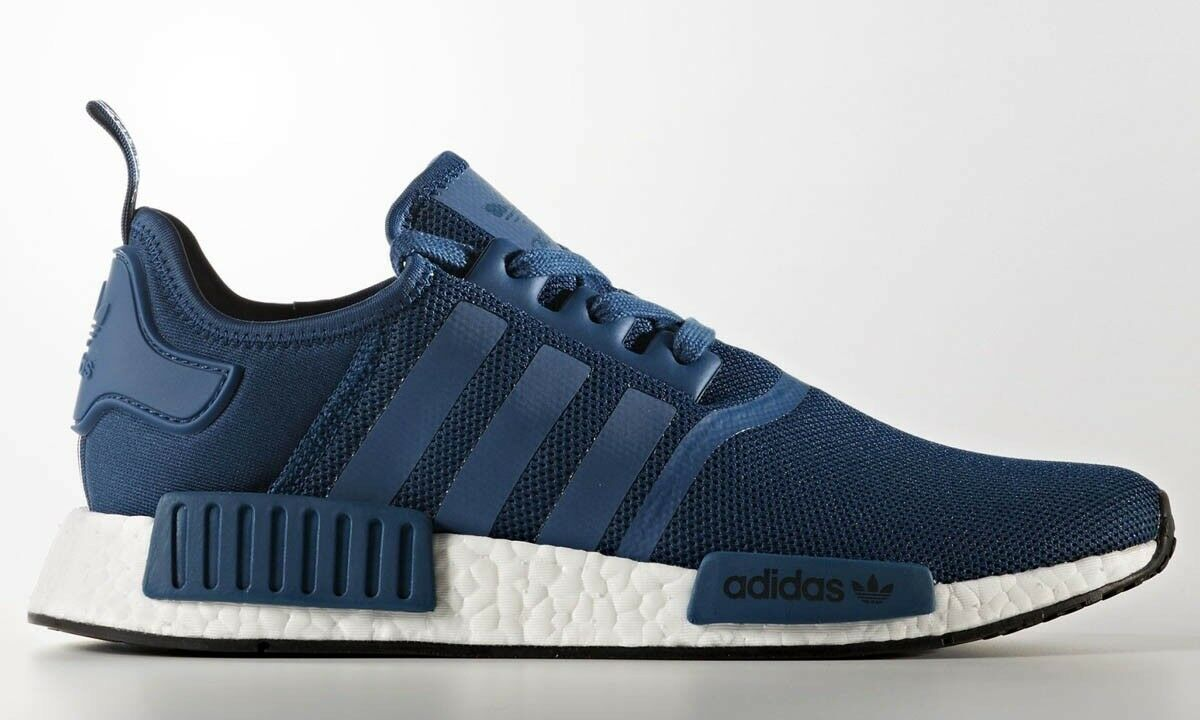 Adidas NMD R1 Nomad Blue Night Black White Boost Runner Shoes BY3016 Mens Sz 10