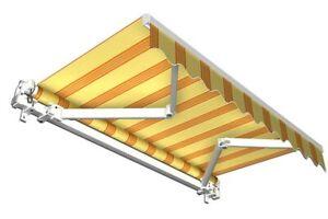 Balkonmarkise-Sonnenschutz-Markise-Balkon-Sichtschutz-gelb-orange-6x3-5-m-B-Ware