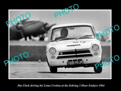 OLD 8x6 HISTORIC PHOTO OF JIM CLARK & HIS LOTUS CORTINA, SEBRING ENDURO 1964