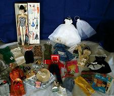 Vintage Brunette #3 Barbie Ponytail Doll TM Box & Stand+TM&HTF Outfits+More LOT