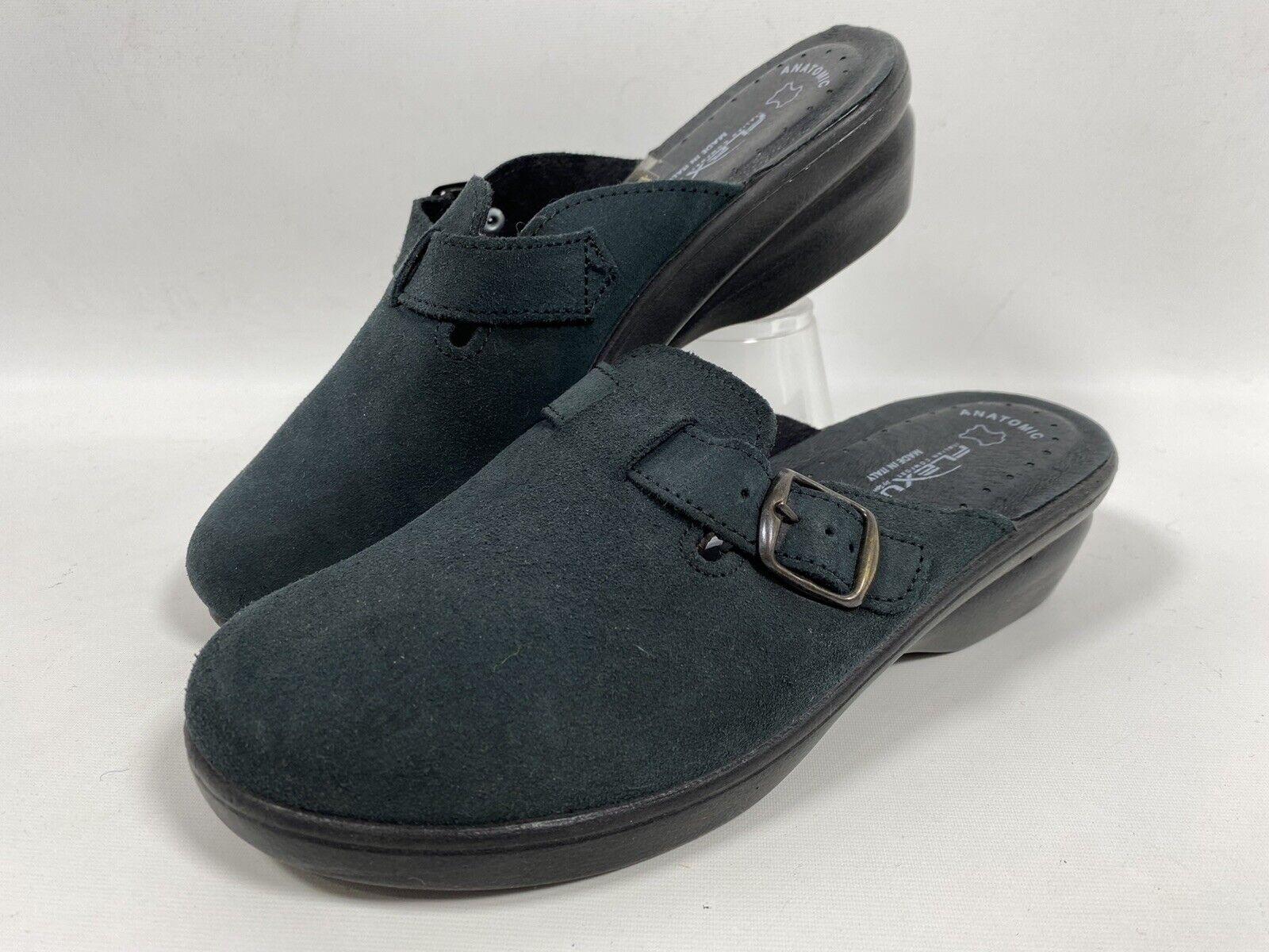 FLEXUS by Spring Step Italian Comfort Clog, Suede, Black, Size 38