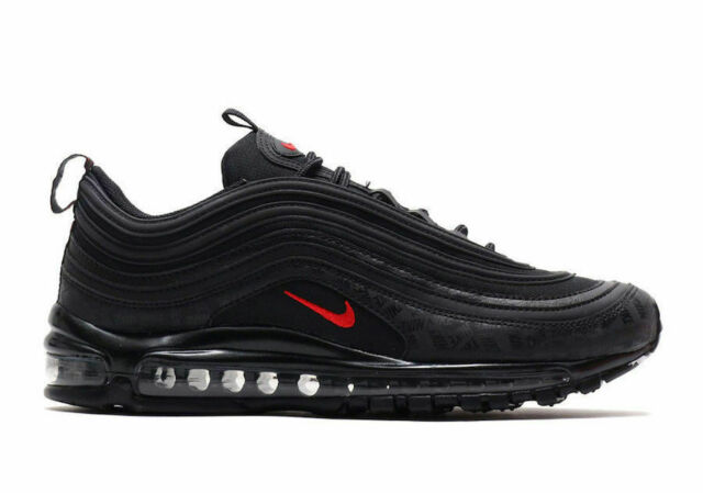 NIKE AIR MAX 97 ALL OVER GRAPHIC PRINT QS BLACK RED REFLECTIVE LOGOS 42 7.5 8.5