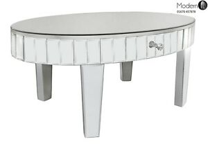 Image Is Loading Oval Mirrored Coffee Table With Tile Edging