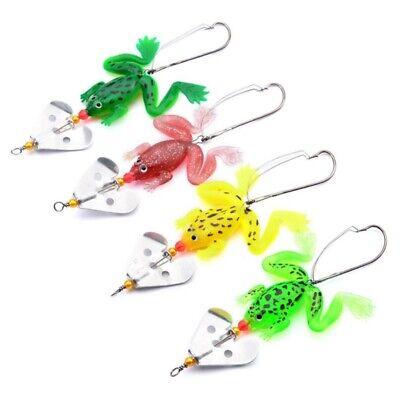Details about  /4Pcs Fishing Lure Frogs Shape Artificial Bait CrankBait W// Single Hook RG