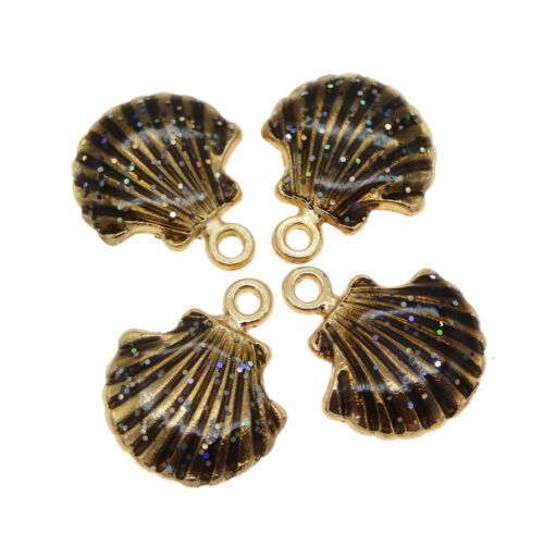 Lot of 15 Nice Scallop Shells Charms Multi-colors Enamel Plated Pendant Findings