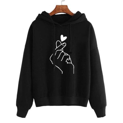 Women Long Sleeve Sweater Hoodies Sweatshirt Jumper Love Print Hooded Pullovers