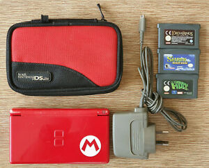 Nintendo DS Mario Edition Console + Charger + 3 GBA Games + DS Case
