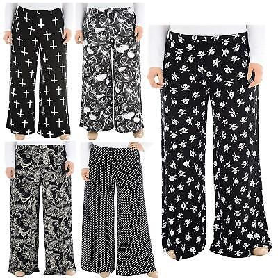 New Womens Plus Size Printed Palazzo Trousers Wide Leg Trousers 16-30