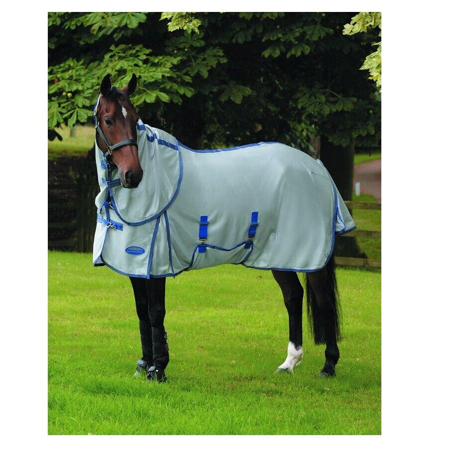 Comfitec Luftdurchfluss Detach-A-Neck Fly Blatt für Pferde Grau Blau 206cm