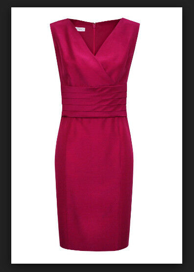 BNWT Size 12 Dress KALIKO Bright Pink Empire Linen Mix Mother of Bride