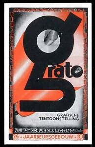 "Netherlands Poster Stamp - 1934 Graphic Exposition, Utrecht - ""GRATO"""