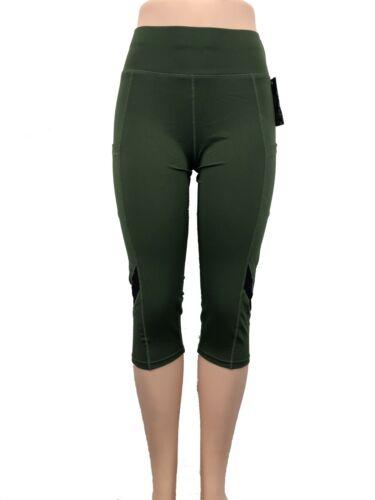 Womens YOGA Workout Gym Sport Pants Leggings Capri Black Mesh w Pockets #2724