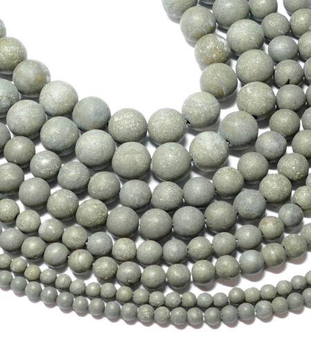 Pyrite Perles sur 4 - 10 mm Or Mat balles, 1 Strang * Bacatus * #4072