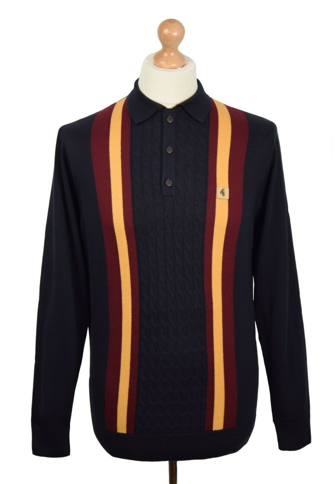 GABICCI VINTAGE NAVY CABLE KNIT TWIN STRIPE POLO MOD CLOTHING NORTHERN SOUL MODS