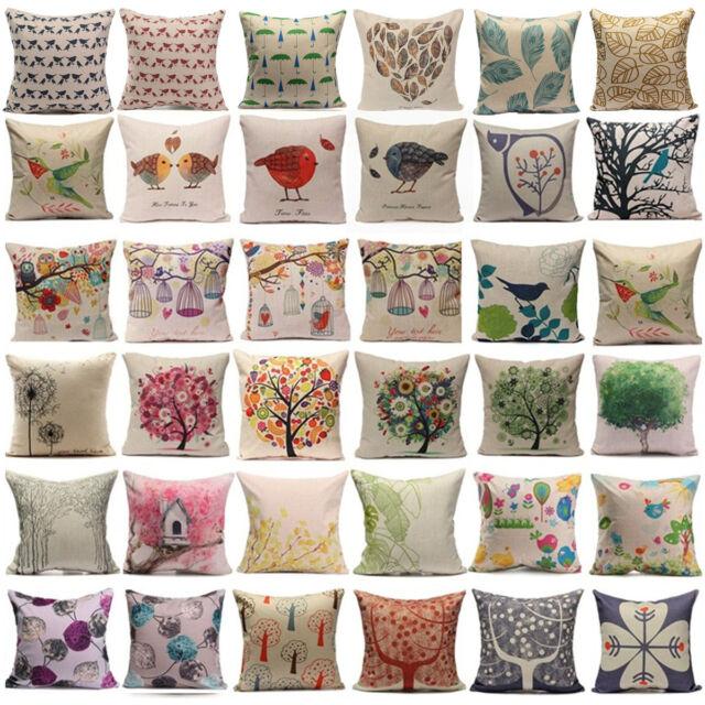 Bird Tree Linen Cotton Pillow Case Back Throw Cushion Cover Home Sofa Car Decor