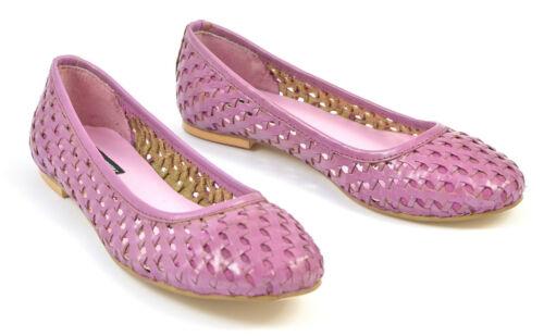 Pour femme Violet Noir en Cuir Tressé Escarpins Chaussures Ballerine Mocassins Toe Talons