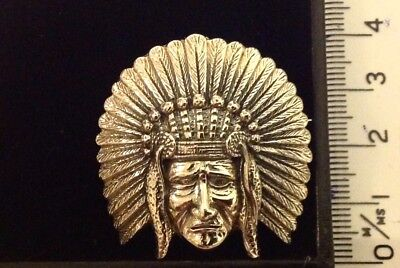 "Fine Necklaces & Pendants Sterling Silver 1 1/4"" Large 2d Native American Indian Chief Pendant Brooch"