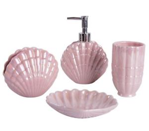 3D Sea Shell Pink Bathroom Accessories Set Soap Dish ...