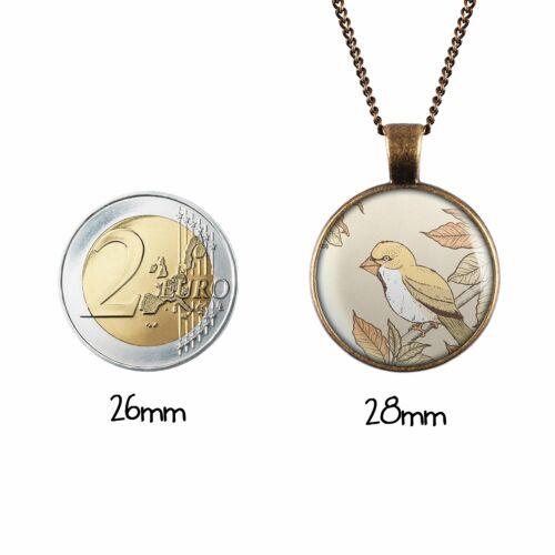 Mylery Hals-Kette mit Motiv Vogel Ast Blätter Fink silber oder bronze 28mm