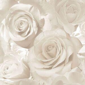 Madison Rose Glitzer Blumen Tapete Perle / Creme - Muriva 139524