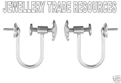 9ct WHITE GOLD EARRING WIRES SCREW CLIP ON 4MM CUP