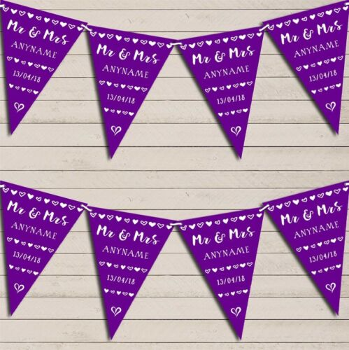 MR /& MRS Coeurs Violet Mariage Anniversaire Bunting Garland Party Banner