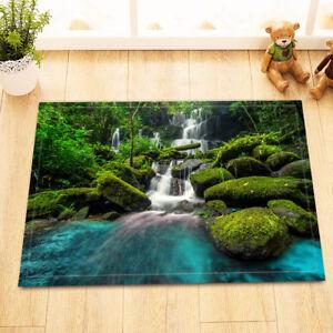 Waterfall-On-Forest-Rock-Bath-Mat-Bathroom-Rug-Non-Slip-Home-Decor-Carpet-24x16-034