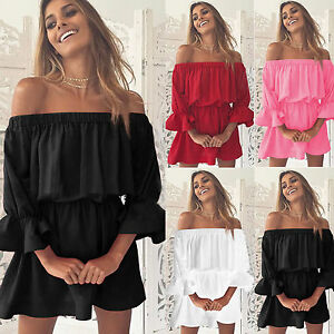 Plain-Womens-Ruffles-Holiday-Off-Shoulder-Dress-Frill-Mini-Ladies-Party-Dresses