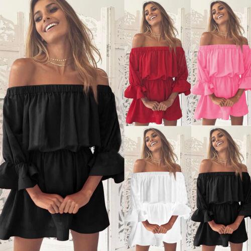 Womens Ruffle Sleeve Frill Hem Holiday Off Shoulder Boho Mini Dress Summer Beach