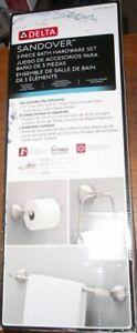 Sandover Delta Brushed Nickel Spot shield 3-Piece Bath Hardware Set SAN63-BN