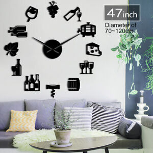 Cheese And Wine Modern Kitchen Art Stickers Diy Giant Wall Clock