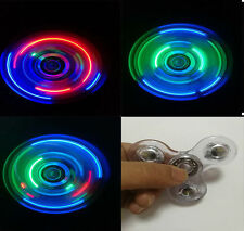 Lot of 10 Transparent Crystal LED Fidget Hand Spinner Rainbow Finger / wholesale
