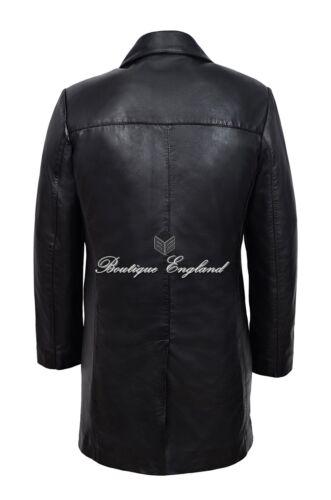 Men/'s Lunghi in Pelle Blazer classico italiano Su Misura Nero Morbido Vera Pelle 3476