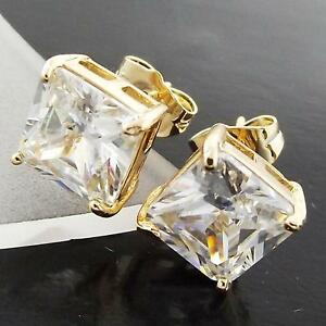 FS998-GENUINE-18K-YELLOW-G-F-GOLD-SOLID-PRINCESS-DIAMOND-SIMULATED-STUD-EARRINGS