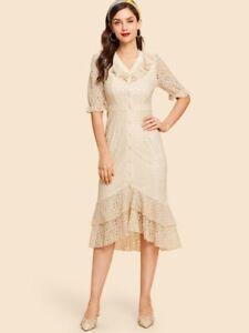 f3e933abb0beeb Image is loading Shein-Lace-Ruffle-Dress-with-Mermaid-Hem-XS