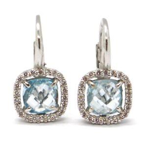 Drop-Earrings-White-Gold-750-18K-Blue-Topaz-Cut-Cushion-Zircon