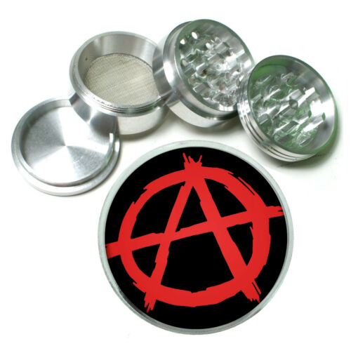 Anarchy Rs1 Themed Aluminum Herb Grinder 63mm 4 Piece Hand Mueller