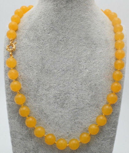 "Women/'s 12 mm NATURAL YELLOW JADE Ronde Pierres Précieuses Perles Collier 18/"" Y22169"