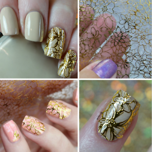 Gold-Embossed-Flower-3D-Nail-Art-Stickers-Decals-Decoration-Tips-Decals
