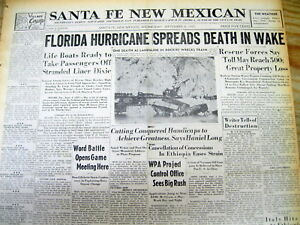 Details About 2 1935 Headline Newspapers Florida Labor Day Hurricane Most Intense Inus History