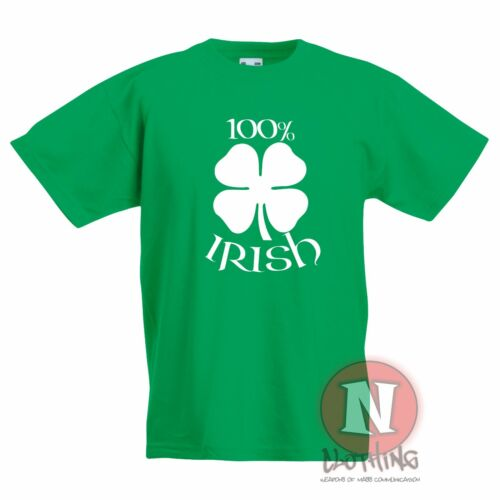 100 percent Irish Kids t-shirt Celtic shamrock 4 leaf clover Children Ireland