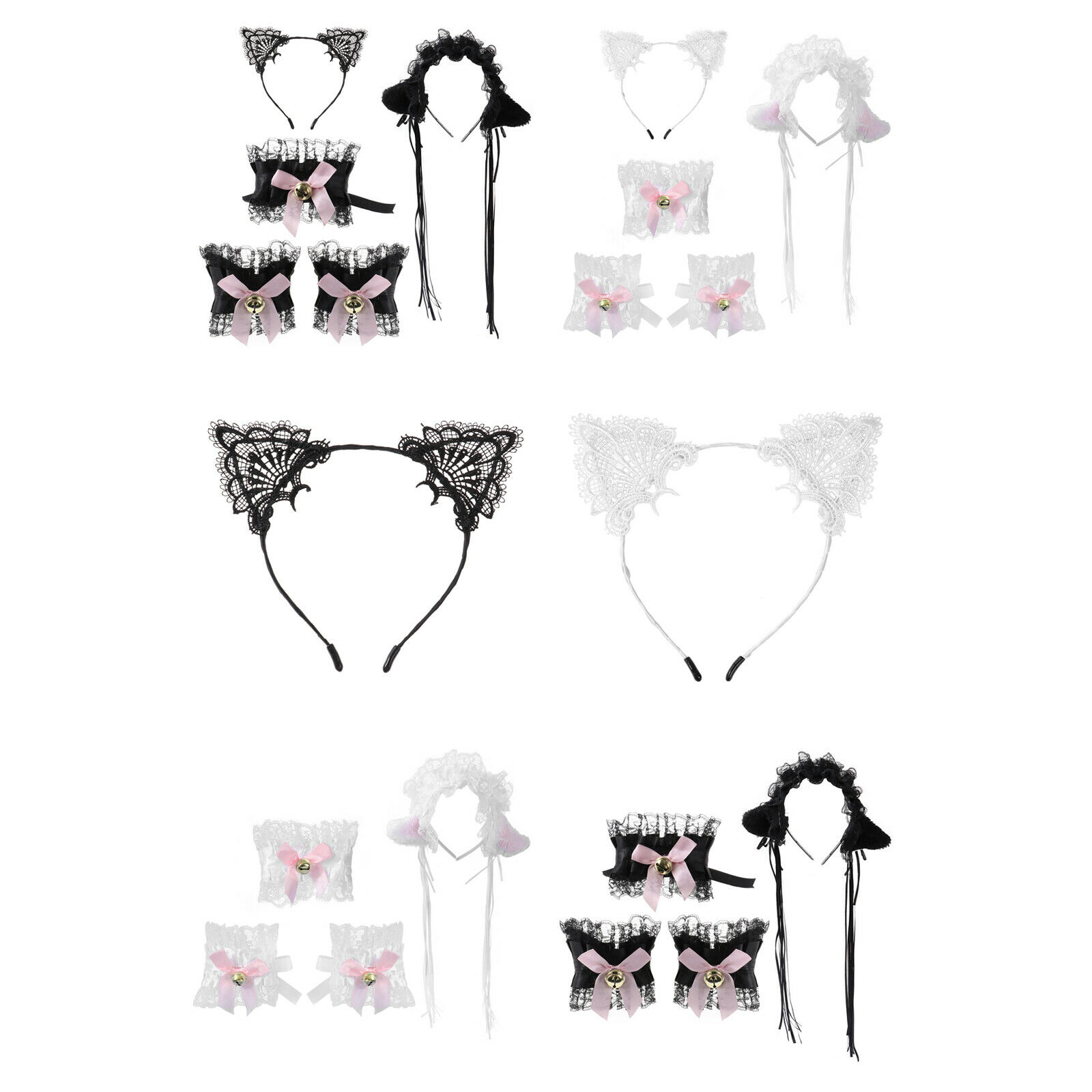 Lace Ruffle Bells Decor Tassel Cat Ears Hair Hoop Bowknot Collar Wristband Set