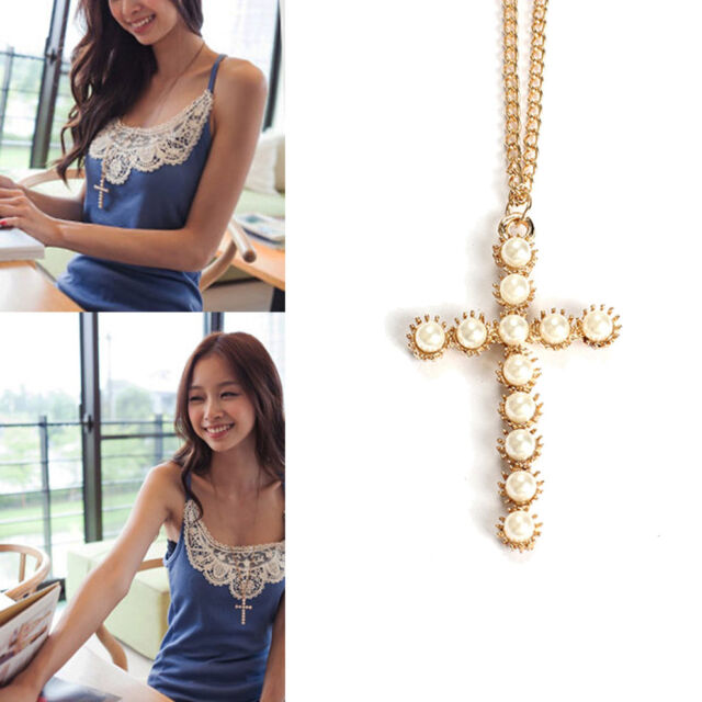 Fashion Beautiful Pearl Cross Pendant Long Sweater Chain Charm Collar Necklaces