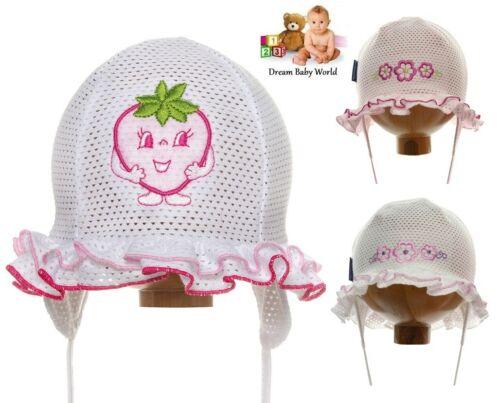 RICH Cotton girls sun hat bonnet Mesh Summer TIE UP Baby CAP 0-12 months NEW